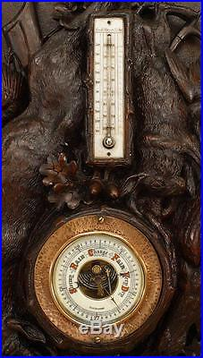 Rustic Black Forest (19th Cent) Walnut Wall Mounted Thermometer / Barometer
