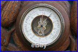 SUPERB 19thC WOODEN OAK ANEROID BAROMETER WITH HUNTING RELIEF CARVINGS c1890s