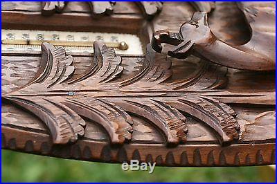 SUPERB 19th c. BLACK FOREST WOODEN OAK PANEL WITH DEER CARVING & BAROMETER c1880