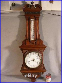 Superb Antique 41 Carved Walnut Banjo Wall Barometer By Comitti