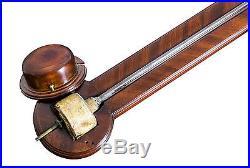 SWC-Nautical Stick Barometer with Herringbone Mahogany, Philadelphia, c. 1810