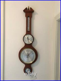 Salem banjo wall barometer, clock, thermometer, moisture gage