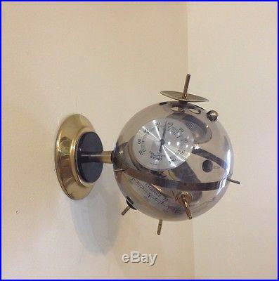 Sputnik Vintage Brass Thermometer Hygrometer Barometer Weather Station Germany