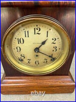 Stunning American Seth Thomas Striking Red Adamantine Case Mantle Clock 1870