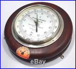 Suiiz marine barometer precision aneroid wooden frame ship`s vintage antique