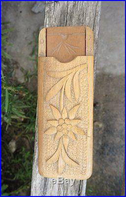Swiss Black Forest Wood Carving Thermometer in Box Edelweiss Geneva Christmas