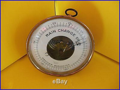 Tycos Weather Barometer Vintage 5 1/4 diameter brass