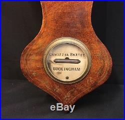 Unique Antique Victorian Camozzi & Baxter, Buckingham, Mahogany Banjo Barometer