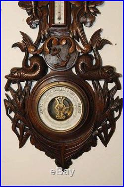 Unique French Barometer Nautical Design, Boat, Dolphins, Anchor, Fish
