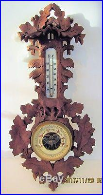 Unusual 19.5 Antique Black Forest Barometer/Therm with Full Deer and Cuckoo Top