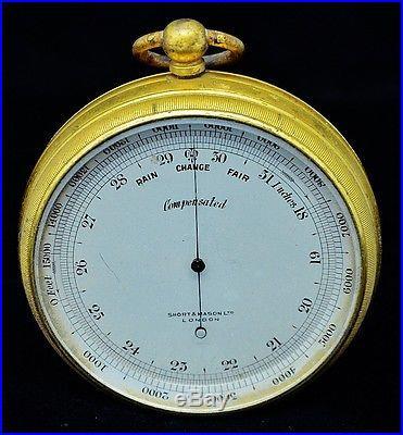 VERY FINE c1885 SHORT & MASON LONDON GILT BRASS POCKET BAROMETER IN ORIG CASE
