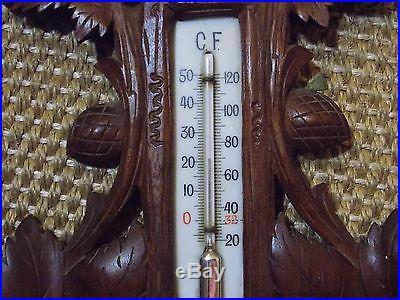 VINTAGE BLACK FOREST STYLE CARVED WOOD BAROMETER 2328