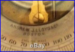 VINTAGE BRASS BAROMETER THERMOMETER ANDREW J. LlOYD BOSTON ENGLISH MAKE