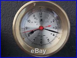 VINTAGE CHELSEA SHIPS BRASS 4 3/4 BAROMETER 5 SHIP'S TIME CLOCK