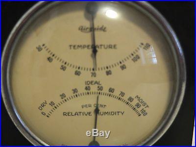 VINTAGE Glass Steel CASED DESK BAROMETER FEE AND STEMWEDEL Temperature Gauge