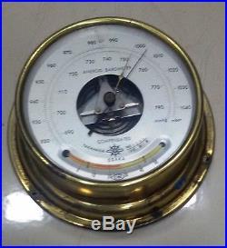Vintage Marine Brass Aneroid Barometer