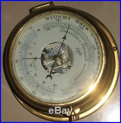 Vintage Marine Brass Aneroid Barometer Of Germany