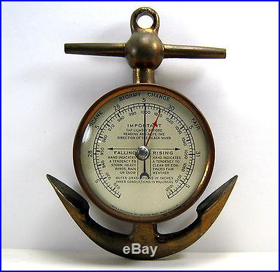 VINTAGE NAUTICAL SHIP'S ANCHOR BAROMETER HURRICANES, STORMS, CHANGE, FAIR