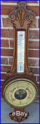 VINTAGE OAK BAROMETER AND THERMOMETER