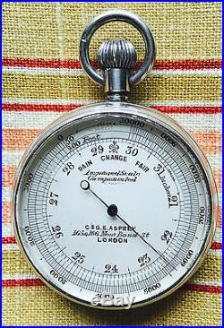 Victorian / Edwardian Silver Asprey Barker Pocket Barometer Altimeter 1902