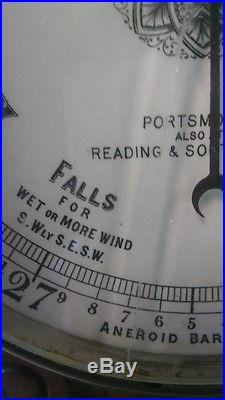 Victorian Era Walnut Antique Weather Barometer Ca 1880's
