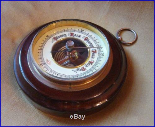 Vintage 1940s Or 50s Atco German Mahogany Barometer