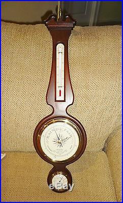 Vintage AIRGUIDE WALNUT BANJO STYLE HANGING BAROMETER/ WEATHER STATION