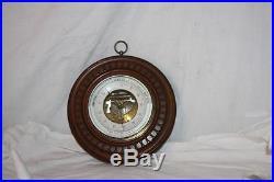 Vintage Aneroid Barometer F. Suva Buenos Aires Walnut Wood Hand Carved Case beve