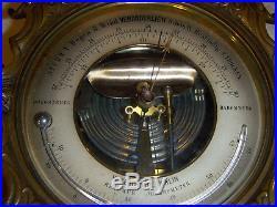Vintage Antique Decorative Wall Barometer Heavy Brass Bronze Veranderlich