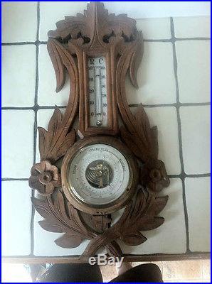 Vintage Antique German Wood Black Forest Barometer
