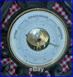 Vintage/ Antique Krautinger German Black Forest Style Carved Wood Barometer
