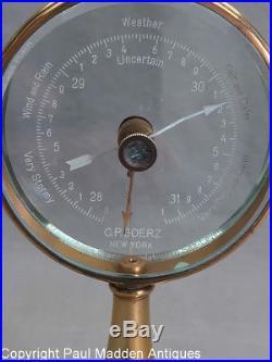 Vintage Art Deco Brass Barometer by C. P. Goerz