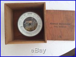Vintage Baltimore MARINE BRASS ANEROID BAROMETER IN ORIGINAL WOOD BOX