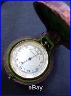 Vintage Brass English Compensated Brass Pocket Barometer WithCass