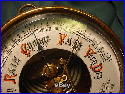 Vintage Brass Short Mason London Barometer w/ Curved Thermometer No Reserve