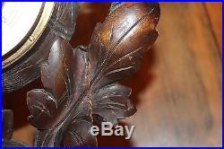 Vintage Carved Wood Horse Head Shoe Veranderlijk Barometer and Thermometer