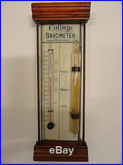 Vintage Cottage Antique BAROMETER and THERMOMETER Works Nice Made in USA 1890s