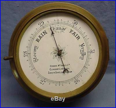 Vintage Dobbie McInnes Brass Ship Barometer