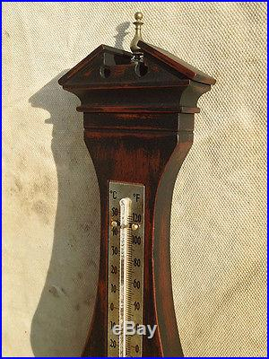 Vintage Ebonized Black & Mahogany Barometer Thermometer-Airguide Instrument Co