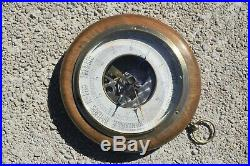 Vintage French Barometer Aneroid Wood Brass Casing Functioning 6.5inch 1.4lbs