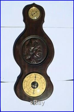 Vintage French Barometer Thermometer On Wood In Working Condition 22inch 2.4lbs