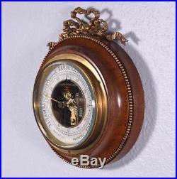 Vintage French Louis XVI Bronze and Mahogany Barometer