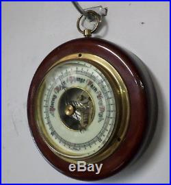 Vintage German Round Barometer with Porcelain Dial