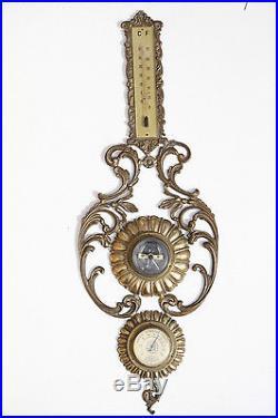 Vintage Italian Thermometer Hygrometer Barometer Metal Brass Spelter