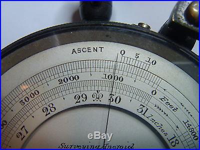 Vintage Keuffel & Esser Co Aneroid Barometer / Altimeter w/ Leather Case ERIE RR