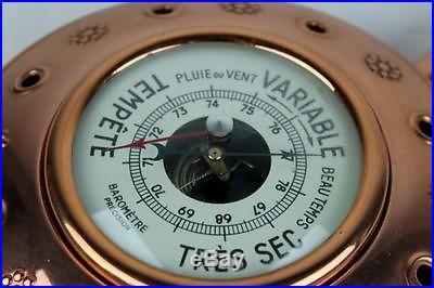 Vintage Lecellier Villediue France Copper Frame Wood Handle Wall Mount Barometer