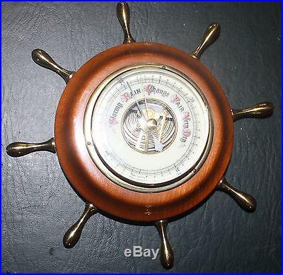 Vintage Mahogany Ships Wheel Barometer NO RESERVE