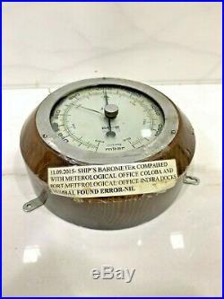 Vintage Marine Nautical Wooden Ship Mbar Berometer 100% Original