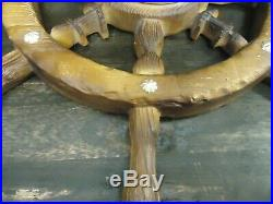 Vintage Ship Wheel Barometer-1970s-stormy-rain-change-fair-very Dry-faux Wood