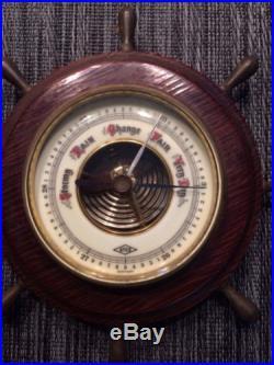 Vintage Ships Wheel Wood & Porcelain ATCO GERMANY 1651 Barometer